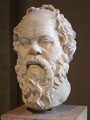 Portrait of Socrates. Marble, Roman artwork (1st century), perhaps a copy of a lost bronze statue made by Lysippos.
