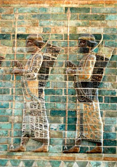 Lancers, detail from the archers' frieze in Darius' palace, Susa. Silicious glazed bricks, c. 510 BC, Louvre